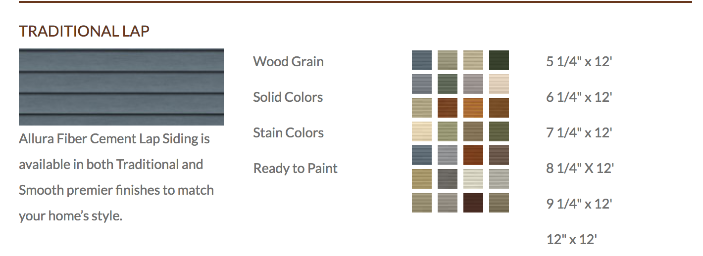 Denver Fiber Cement Lap Siding Allura Color Palette